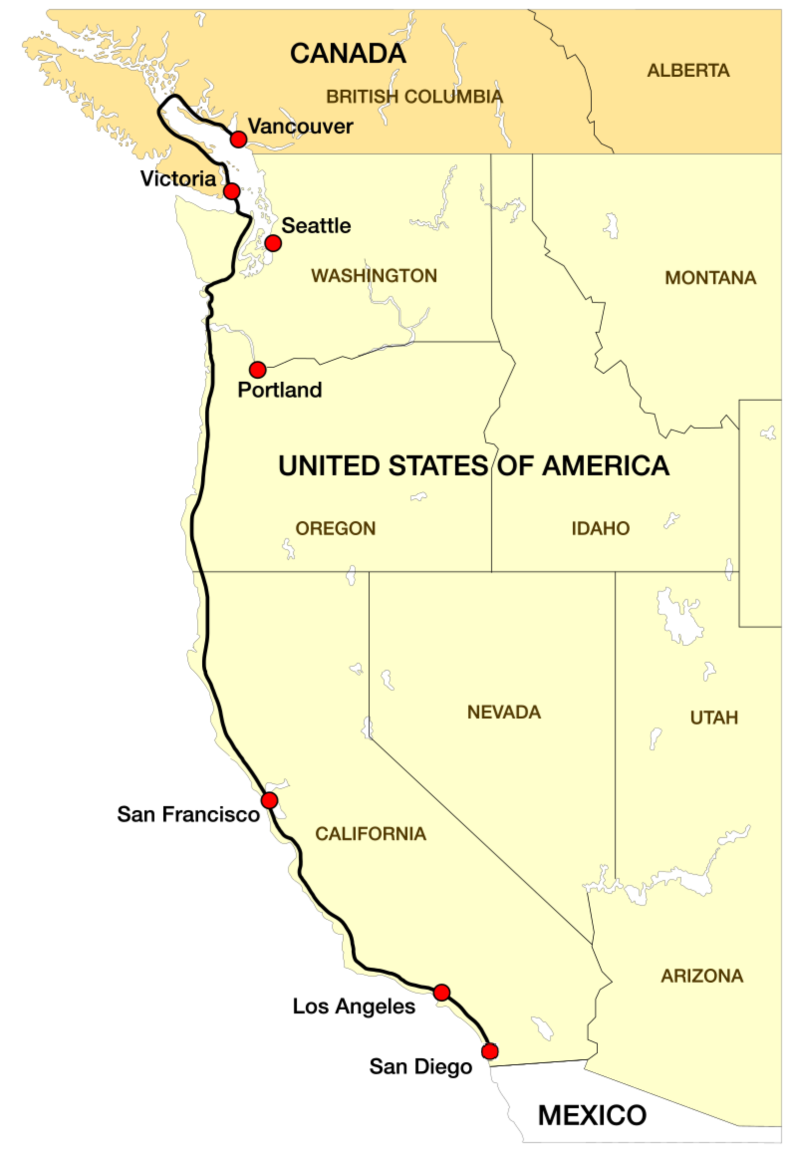 Route in den USA